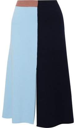 Cédric Charlier Color-Block Wool And Cashmere-Blend Midi Skirt