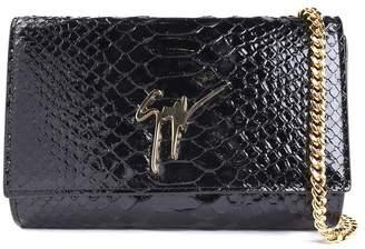 Giuseppe Zanotti Cleopatra Logo Python-print Patent-leather Pouch