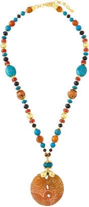 Jose & Maria Barrera Turquoise, Carnelian & Agate Pendant Necklace