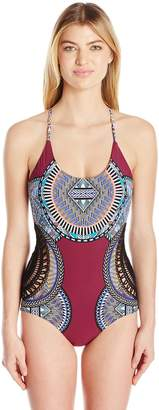 Red Carter Women's Tribal Daze Side Corchet Over the Shoulder One Piece Swimsuit