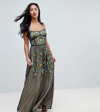 Frock And Frill Petite Premium Folk Embroidrerd Structured Strap Maxi Dress