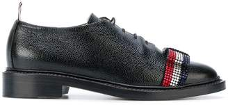 Thom Browne Wholecut With Bejewelled Bow & Leather Sole In Pebble Lucido Leather
