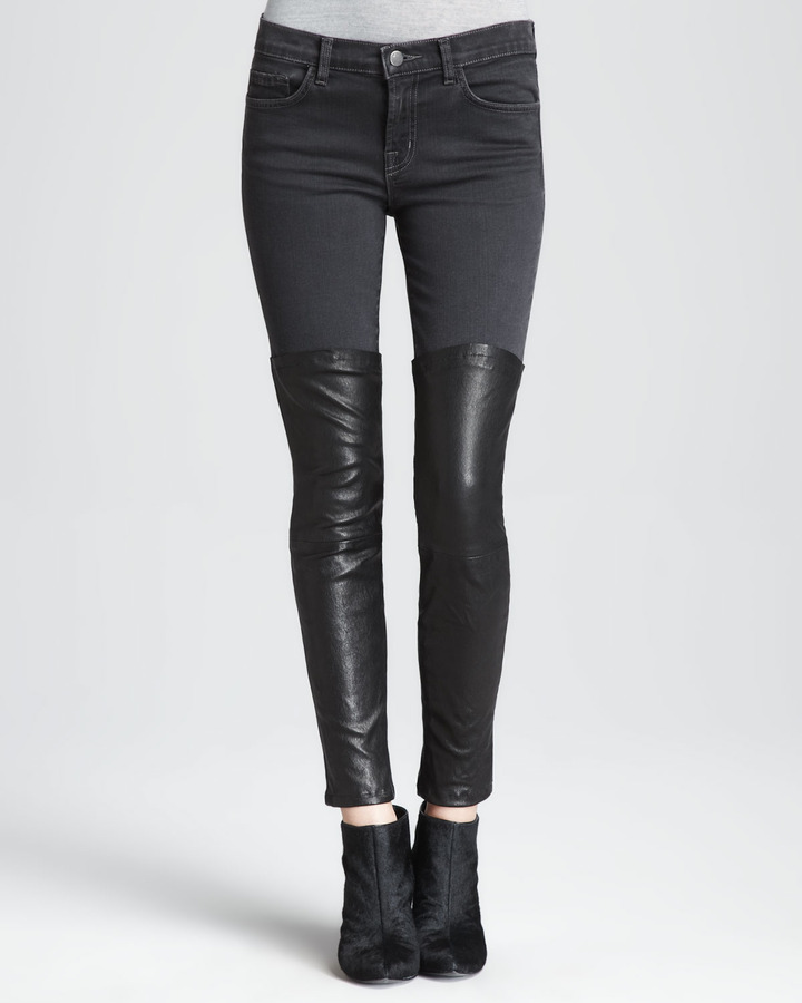 J Brand Jeans Minx Pistol Skinny Leather-Panel Jeans