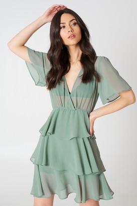 Na Kd Boho Triple Layer Flounce Dress Duck Green