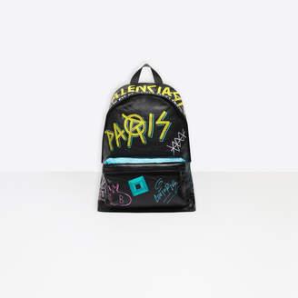 Balenciaga Graffiti print Arena lambskin large backpack