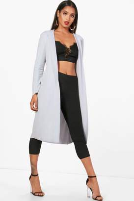 boohoo Long Sleeve Tie Waterfall Duster
