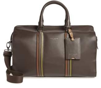 Ted Baker Geeves Stripe Leather Duffel Bag