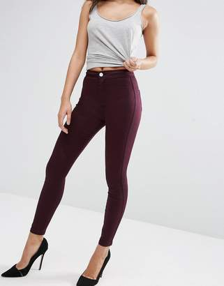 Asos Design Rivington High Waist Denim Jeggings in Oxblood