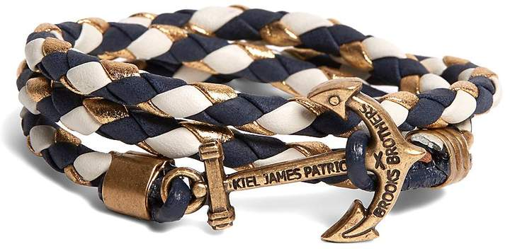 Brooks Brothers  Kiel James Patrick Navy Leather Wrap Bracelet