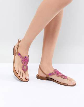 Pieces Embellished Flat Sandal