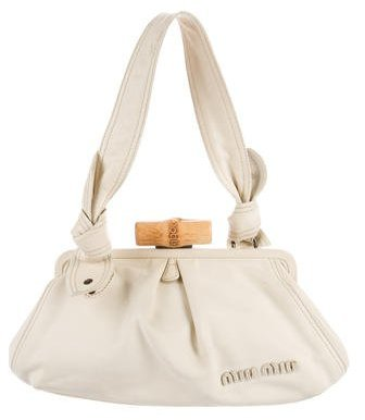 Miu Miu Miu Miu Bamboo Leather Shoulder Bag