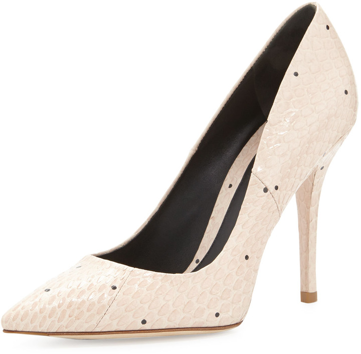 Brian Atwood Joelle Snakeskin Point-Toe Pump, Natural