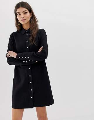 59c84c512c7 Asos Design DESIGN denim shirt dress in black