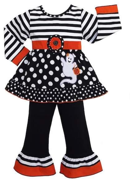 AnnLoren Halloween Stripe & Dot Ghost 2-Piece Set (Baby, Toddler, Little Girls, & Big Girls)