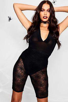 boohoo NEW Womens Halloween Spider Web Lace Cycling Short in POLYESTER