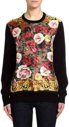 Dolce & Gabbana Long-Sleeve Baroque Rose Silk Sweater