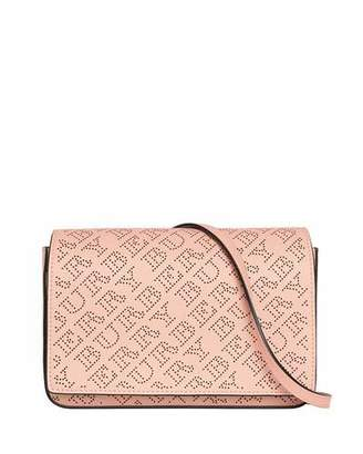 Burberry Hampshire Perforated Leather Shoulder Bag, Pale Fawn Pink