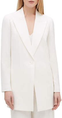 Lafayette 148 New York Kourt Peak-Lapel One-Button Finesse Crepe Jacket