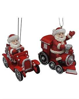 Christmas Shop Orn-Assorted Train/Car Santa Red