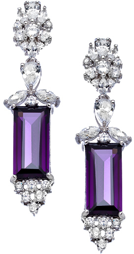 Tang & Song Purple CZ Rectangle Drop Earrings