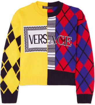 Versace Paneled Printed Intarsia Wool-blend Sweater - Yellow