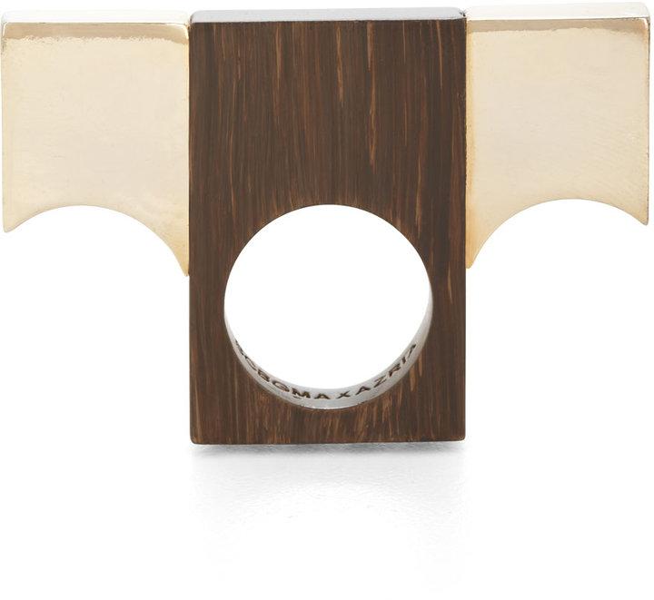 BCBGMAXAZRIA Wood & Lucite Ring