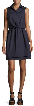 Derek Lam 10 Crosby Sleeveless Tied Poplin Shirtdress, Navy $425 thestylecure.com