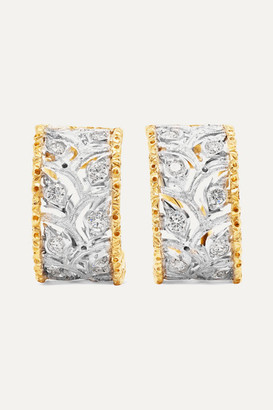 Buccellati Ramage 18-karat White And Yellow Gold Diamond Hoop Earrings