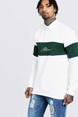 boohoo Long Sleeved Contrast Panel Man Signature Rugby Sweat