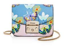 Furla Metropolis Mini Floral Butterfly Print Leather Crossbody