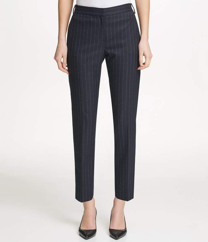 Donna Karan New York Pinstripe Slim Straight-Leg Ankle Pants