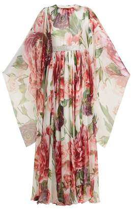 Dolce & Gabbana Peony Print Silk Chiffon Gown - Womens - White Multi