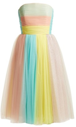 DELPOZO Multicoloured Striped Tulle Dress - Womens - Multi