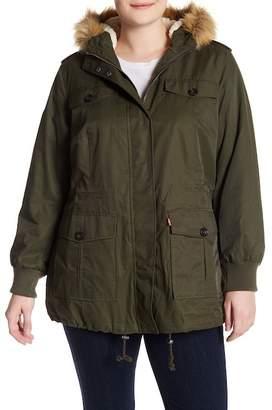 Levi's Four Pocket Faux Fur Hooded Jacket (Plus Size)