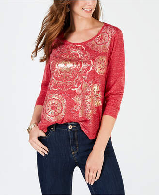 Style&Co. Style & Co Foil-Print Long-Sleeve T-Shirt, Created for Macy's