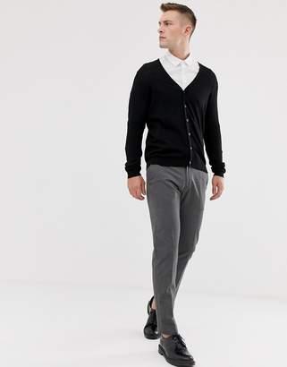 Asos DESIGN knitted cardigan in black