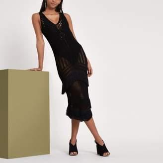 River Island Womens RI Studio black crochet fringe midi dress