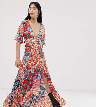 Kiss The Sky maxi dress with thigh splits in mixed print