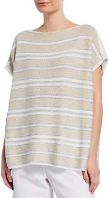 Lafayette 148 New York Woven Metallic Stripe Pullover Sweater