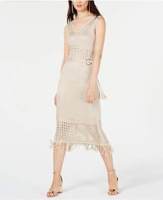 07bb22fcb2d56 INC International Concepts I.n.c. Belted Fringe Midi Dress