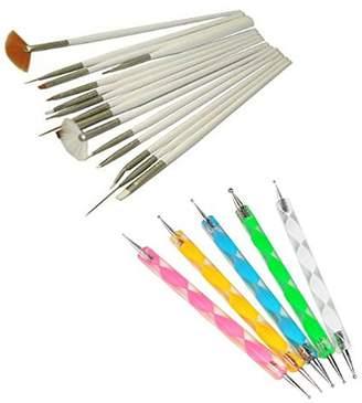 15Pcs Nail Art Design Painting Drawing Brushes DIY Tool Set + 5 X 2 Way Marbleizing Dotting Pen Tools Set for Acrylic UV Gel Nail Art Design Manicure Pedicure AOSTEK(TM) by Aostek