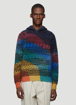 Missoni Intarsia Knit Hooded Sweater in Green and Grey