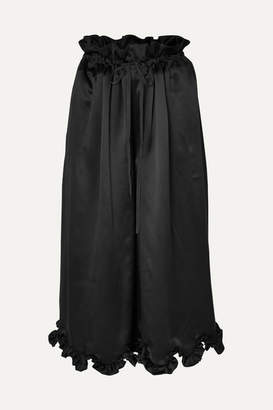 Cecilie Bahnsen - Sara Scalloped Silk-satin Culottes - Black