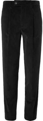Mr P. Slim-Fit Tapered Pleated Cotton-Corduroy Trousers