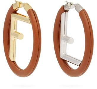 Fendi Logo Leather Hoop Earrings - Womens - Tan