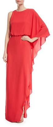 Halston Flowy One-Shoulder Gown w/ Back Cowl