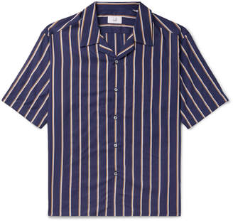 Dunhill Camp-Collar Striped Lyocell and Cotton-Blend Shirt - Men - Blue