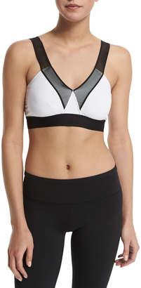 Heroine Sport V-Neck Mesh-Shoulder Bra, Black/White