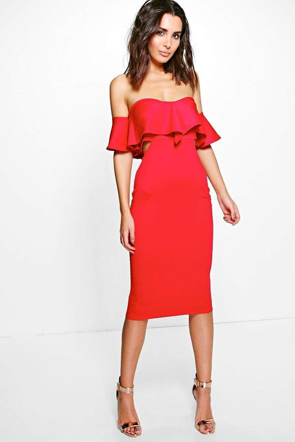 boohoo Kyra Frill Detail Midi Bodycon Midi Dress