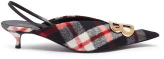 Balenciaga 'BB' logo plate check plaid slingback pumps
